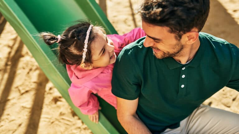 Dad and daughter at playground