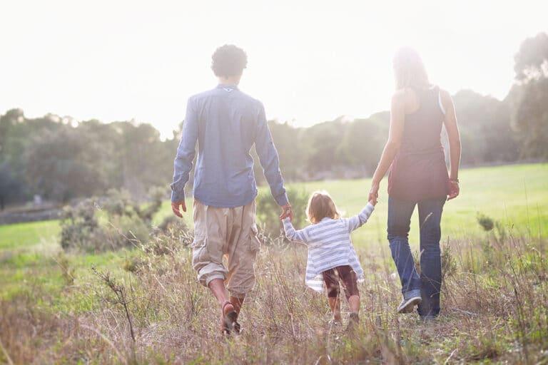 Family walking away